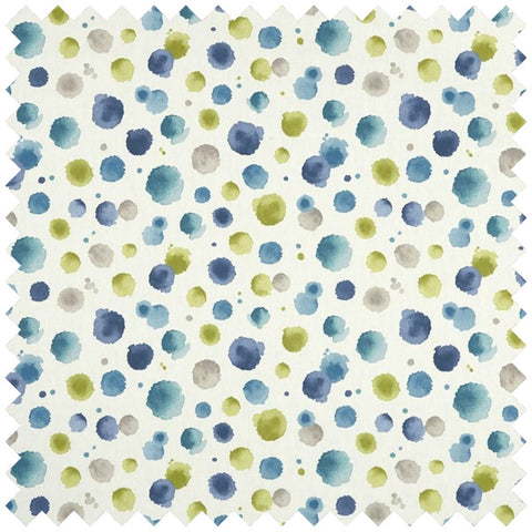 Cream fabric with blue and green speckled design