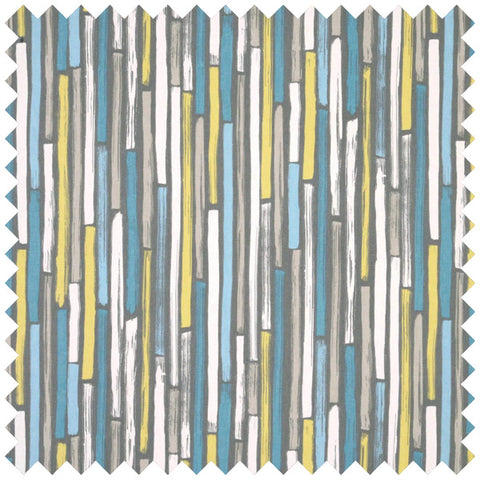 A blue, yellow, grey and cream fabric swatch