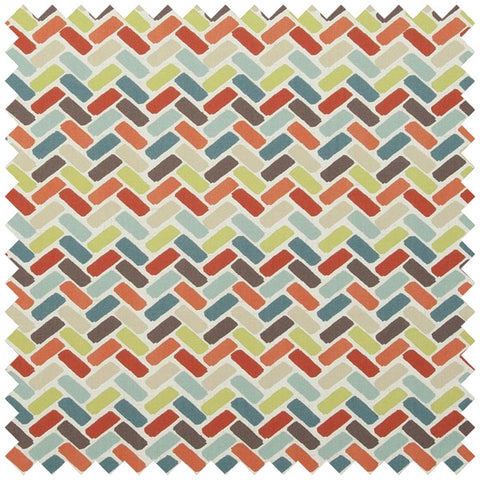 Herringbone patterned fabric in orange, beige, blue, green and brown