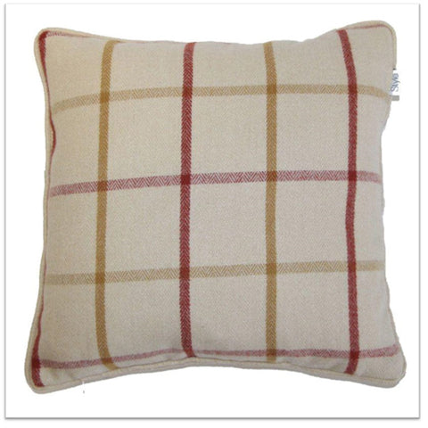 Cream, red and gold checked cushion