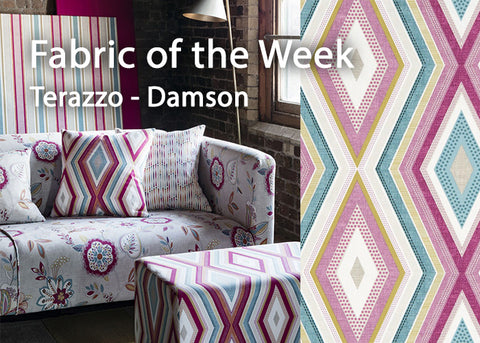 Clarke & Clarke Terrazo Curtain Fabric - Damson, from the Octavia Collection