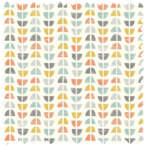 Semi circle repeat pattern fabric in cream with grey, orange and yellow semi circles