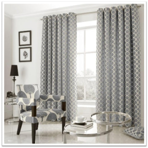 Geometric circle curtains in grey and silver