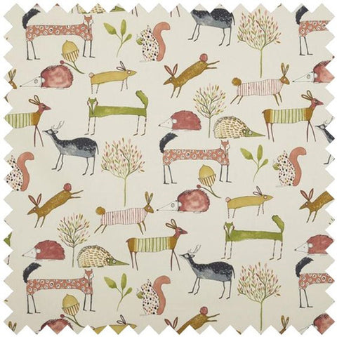 Oh My Deer Curtain Fabric - Berry