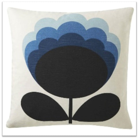 Orla Kiely white cushin with black and blue flower design