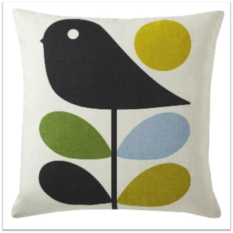 White cushion with free and bird funky pattern design