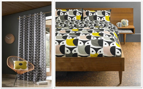 Geometric black and white eyelet curtains and funky owl bedding