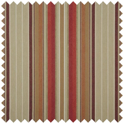 Beige, red and gold striped fabric