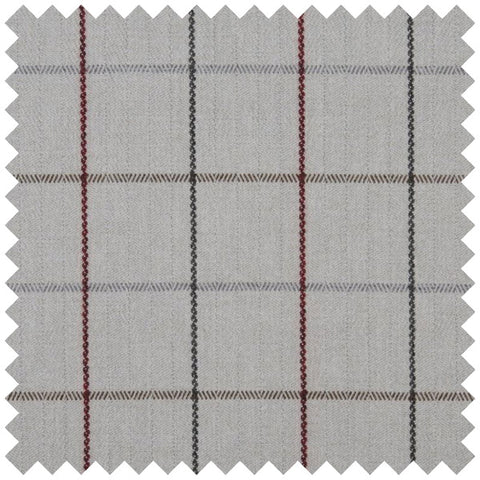 Grey and red pin striped fabric