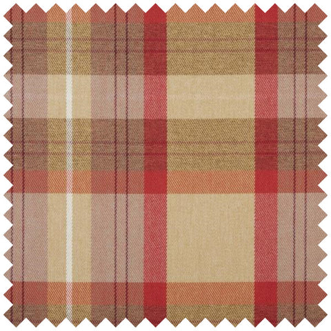 Red and gold checked fabric