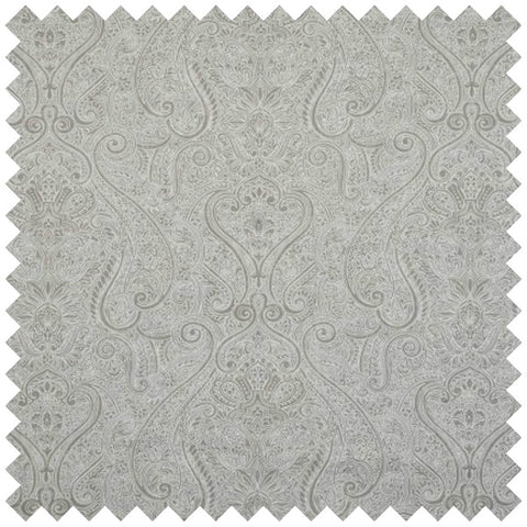 Grey granite fabric swatch with a faint and intricate swirling design