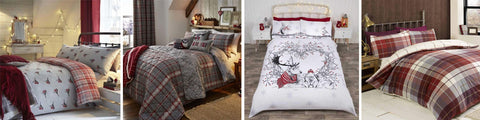 Collage of four different red and grey bedding sets