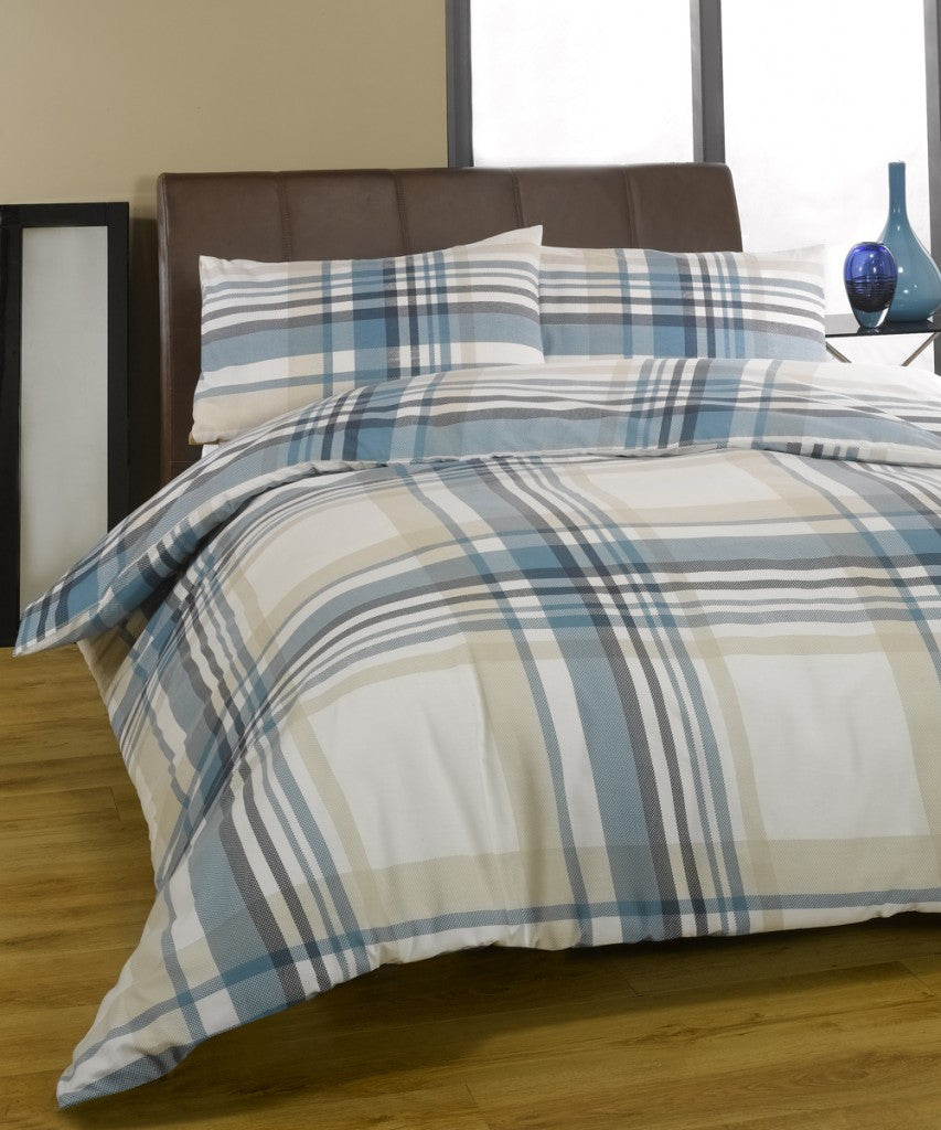 Cream, blue, beige and grey checked bedding