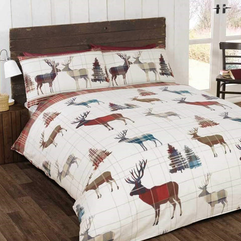 Stag Brushed Cotton Bedding Set - Multi