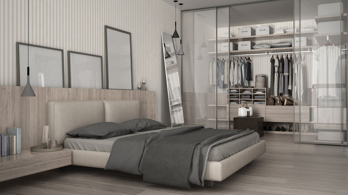 Modern grey and beige bedroom with concealed clothes rail and storage