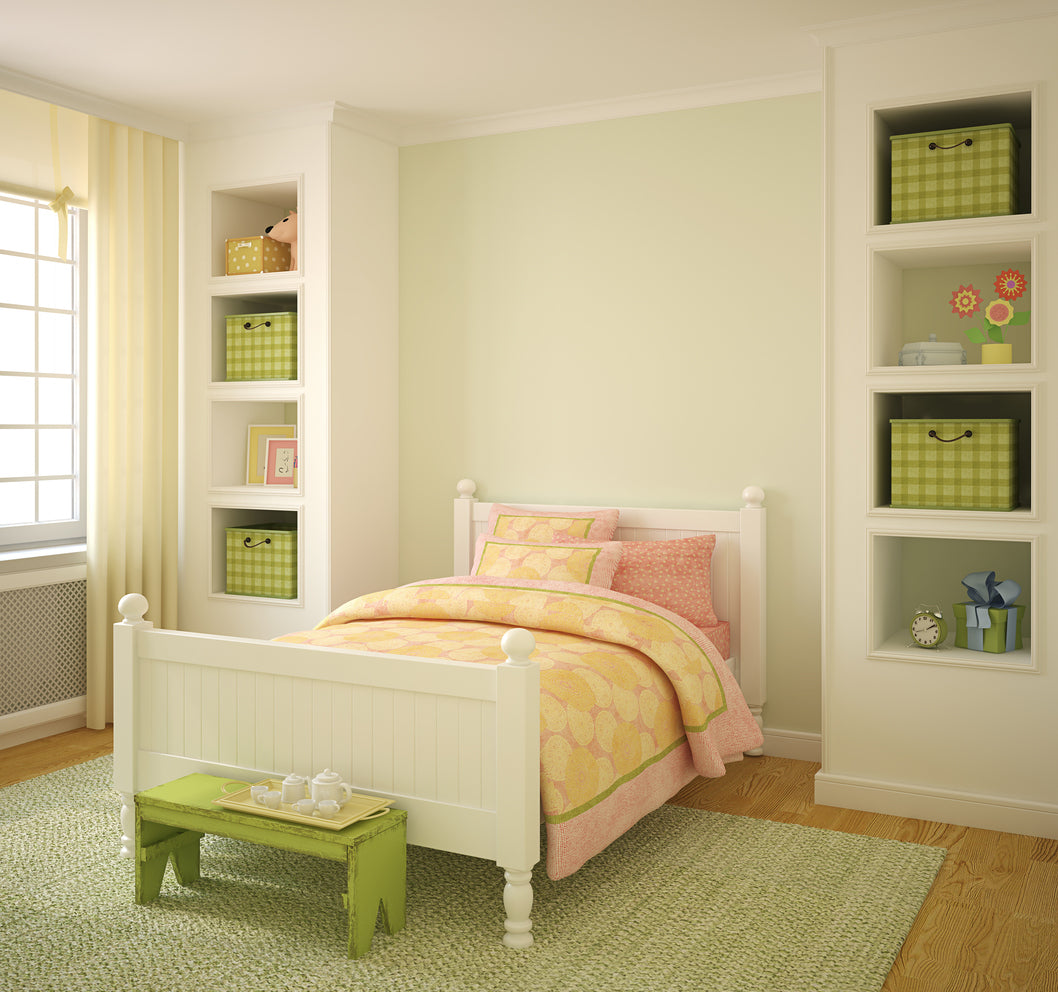 Soft Greens, Yellows And Pinks Are Used In This Childs Bedroom