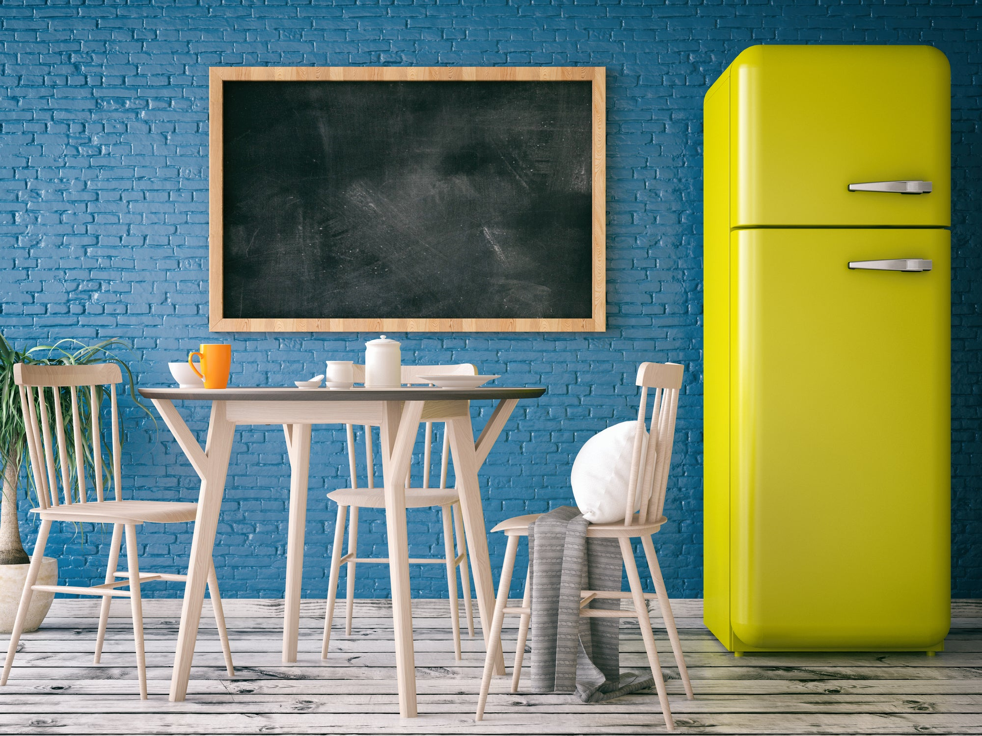 Blue bricked kitchen with bright lime green fridge