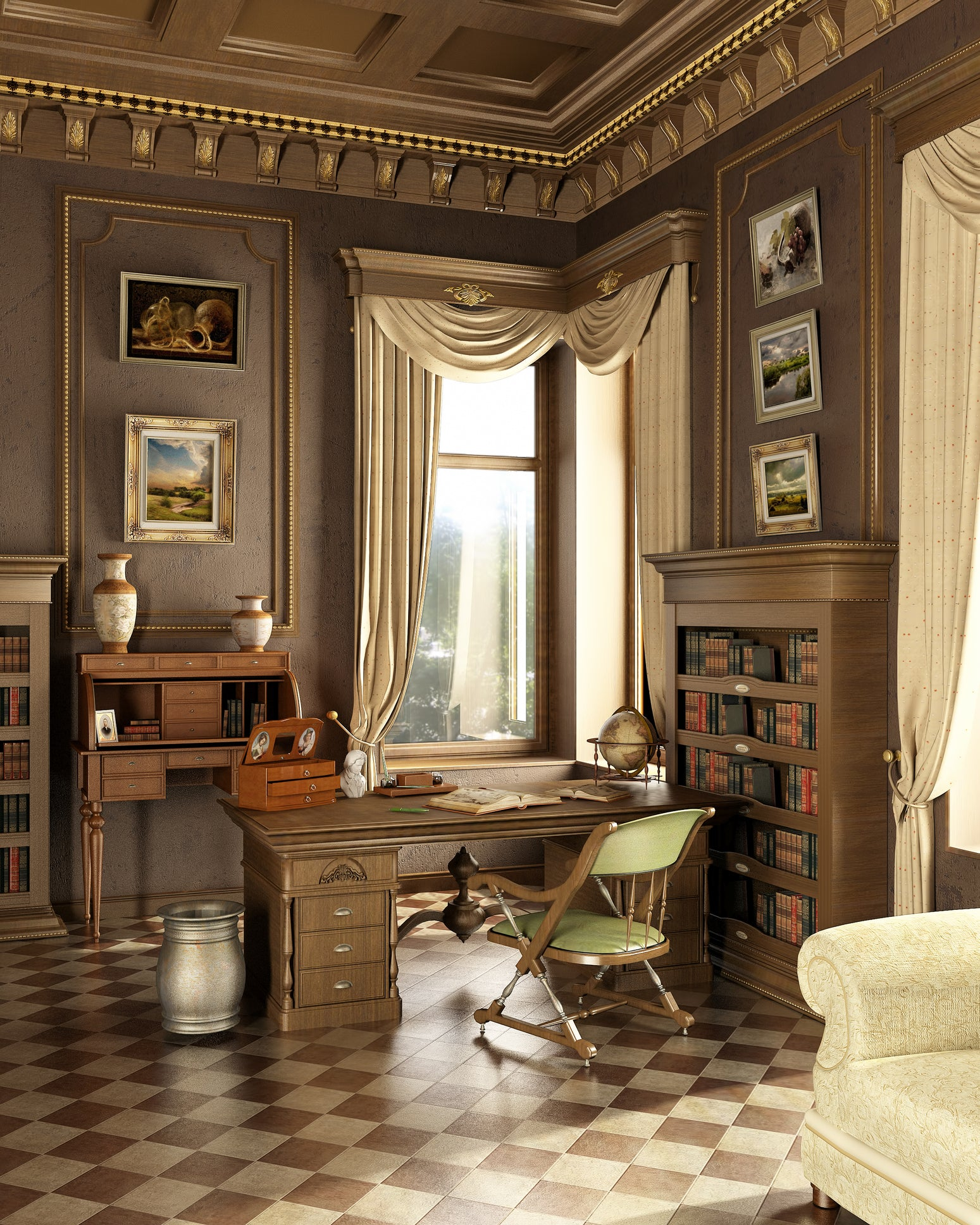 Brown, beige and gold tradition home office or study