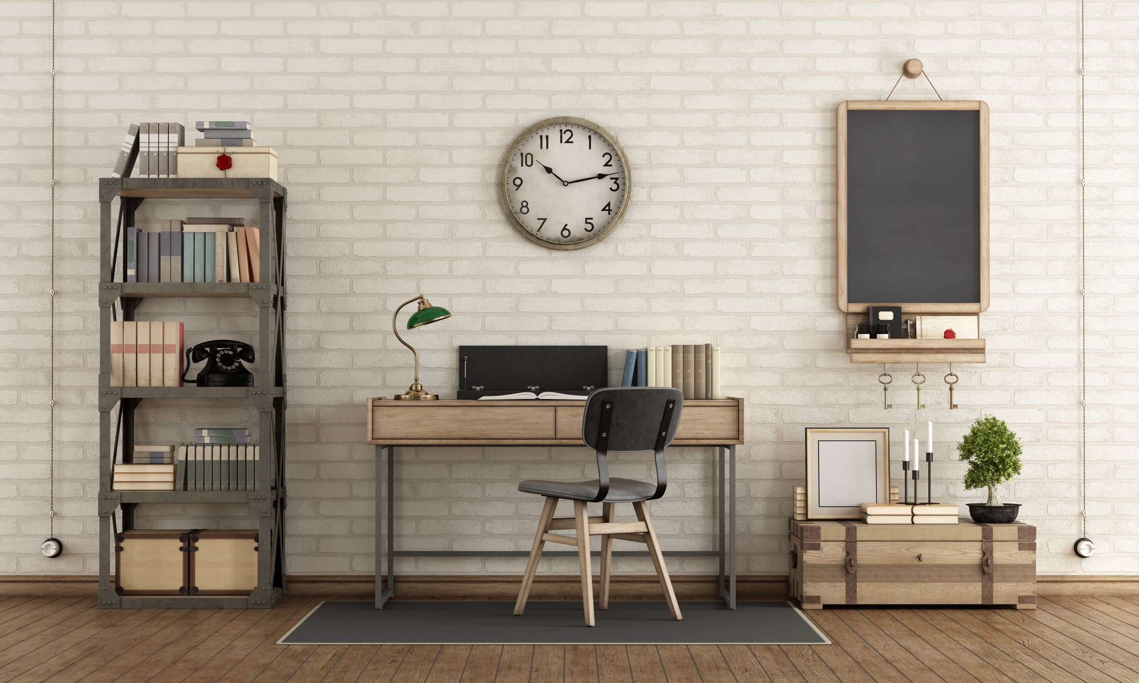 Industrial style home office with funky accessories and large clock on the white brick wall