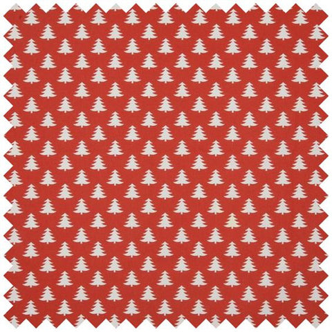 Trees Curtain Fabric - Red