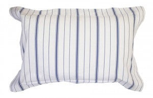 A rectangular blue and white striped cushion