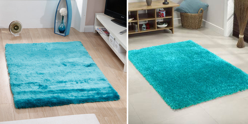 Two turquoise rugs