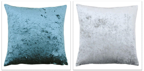 Plush blue and grey cushions