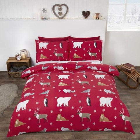Winter Animals Brushed Cotton Bedding Set Red