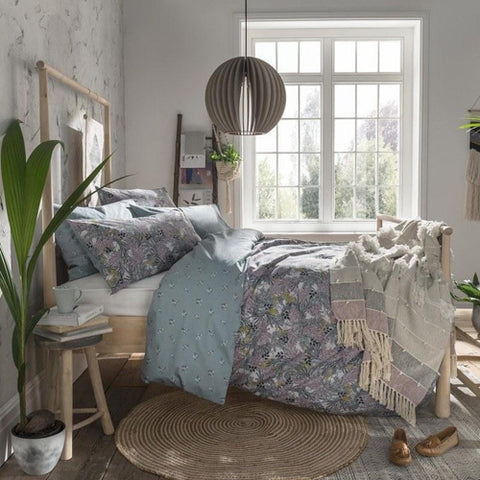 Lavender floral patterned bedding