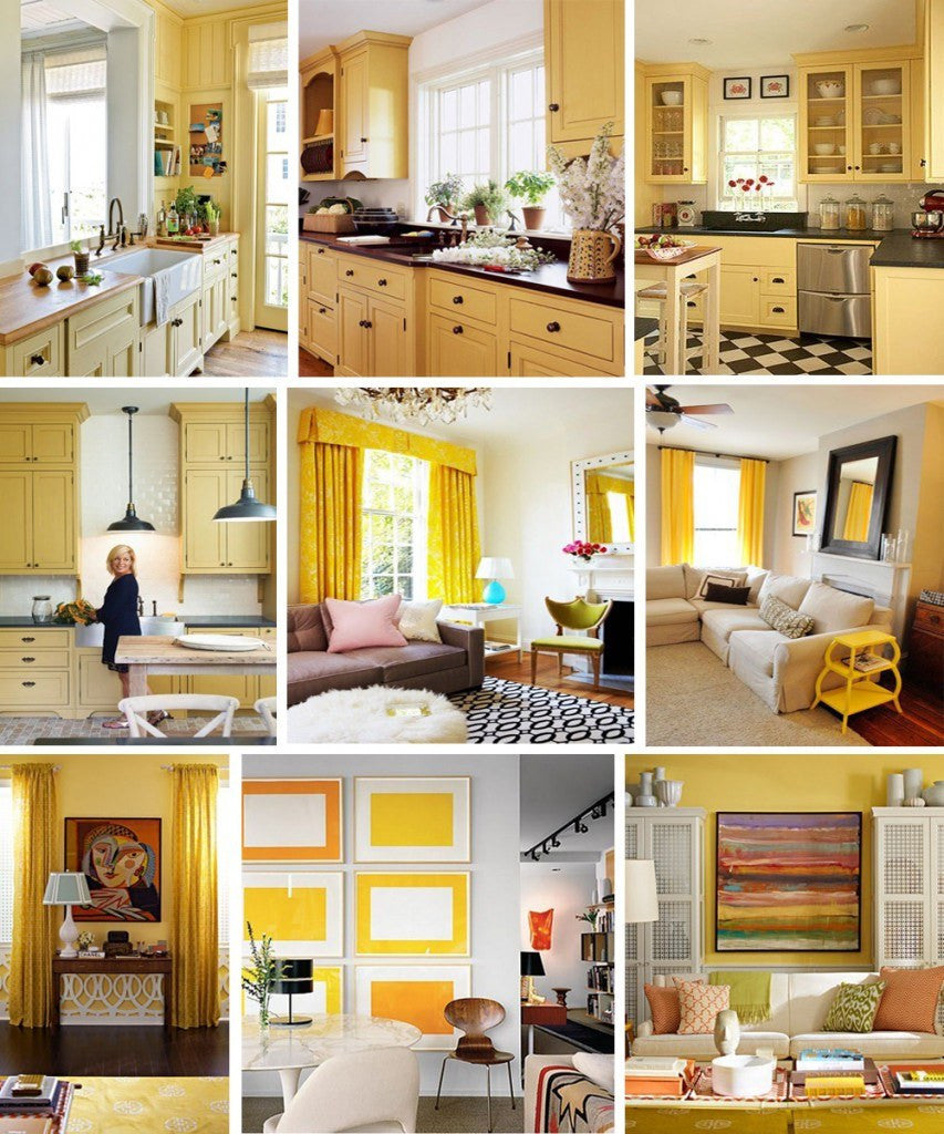 Collage of nine different yellow interiors