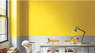 Yellow and grey home office and dining room