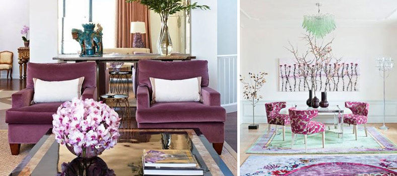 Purple arm chairs in a living room and similar desk chairs around a desk
