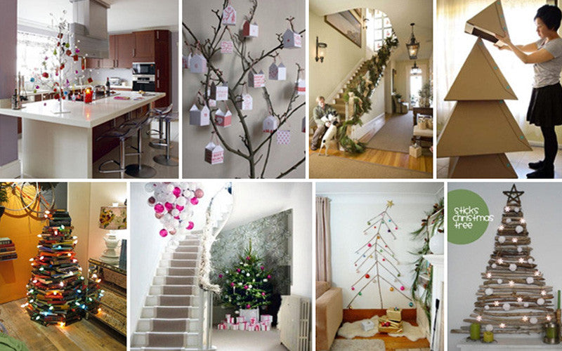 Collage of eight photos with DIY Christmas trees made from branches, books, twigs and cardboard