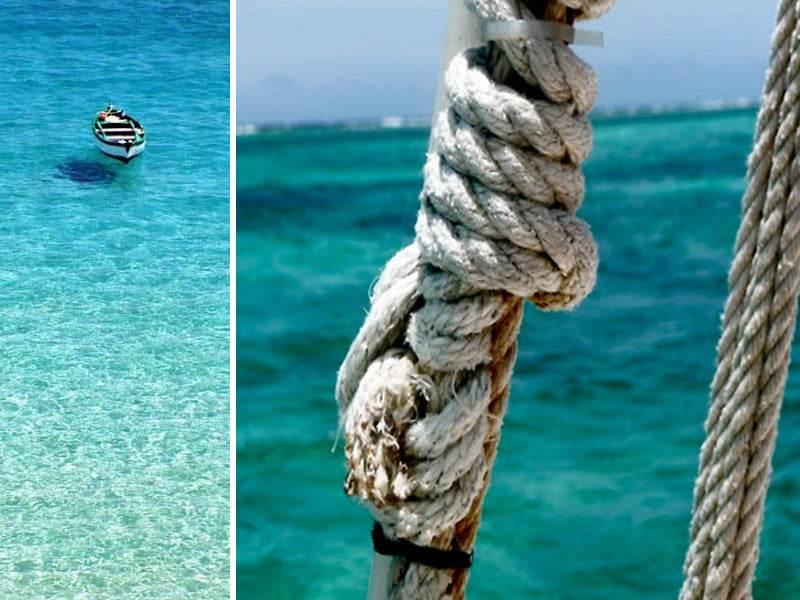 Boat In The Sea And Closeup Of A Sailors Knot