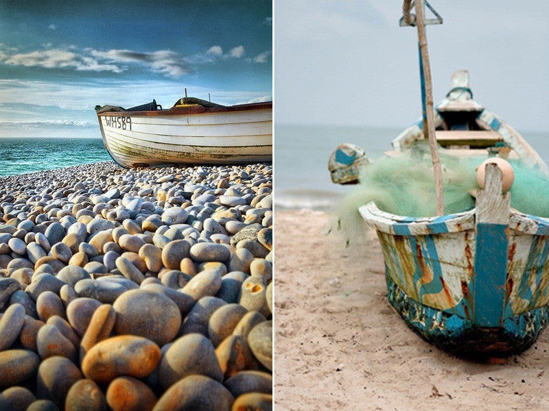 Boat On A Pebble Beach And Another Boat On A Sandy Beach