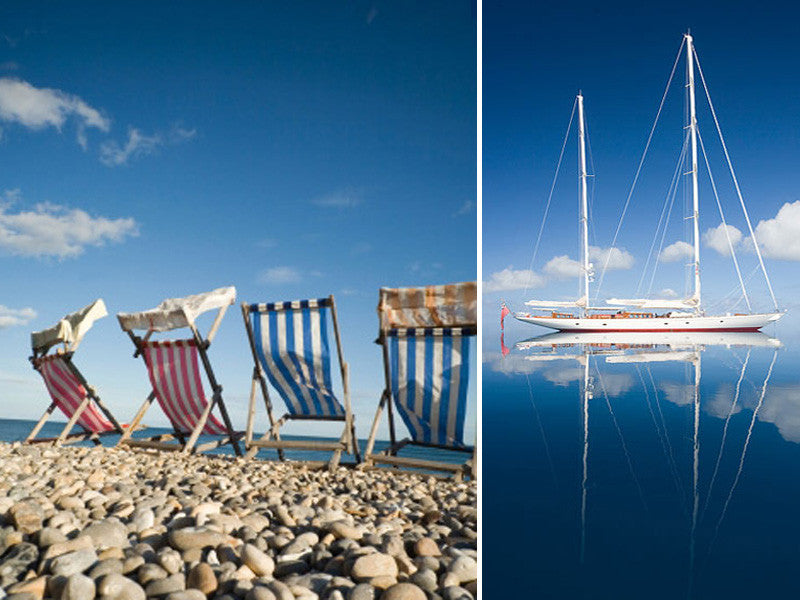 Beach chairs and a yacht