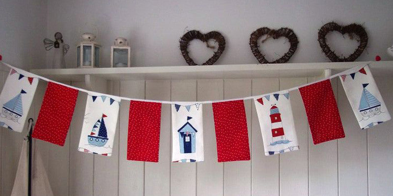 Bunting with beach huts on it