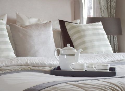 Breakfast In Bed On Grey And Cream Bedding