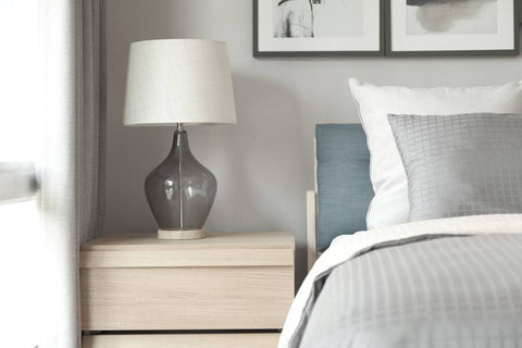 Bed Side Lamp, Next To Grey Bedding