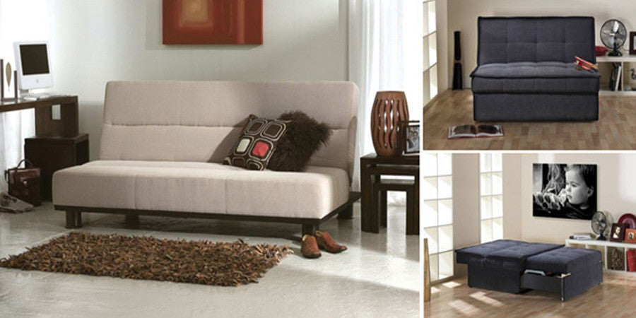 Collage of folding sofa beds in beige and black