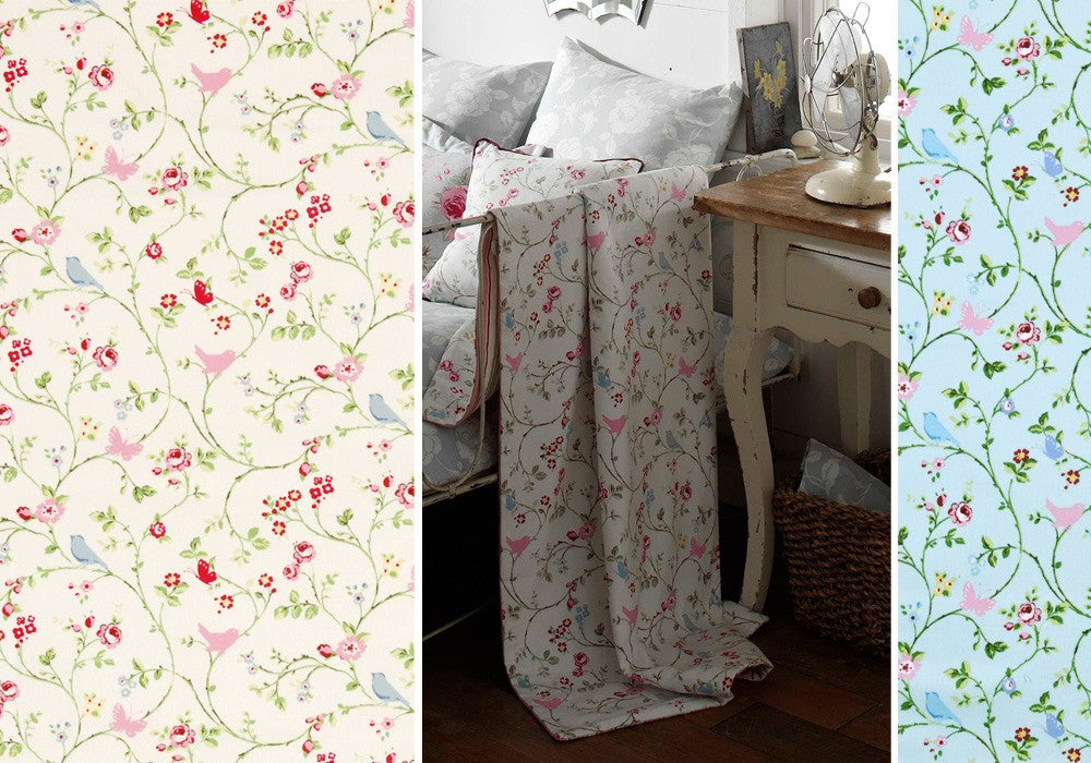 Collage of bird and branch floral pattern, with cream fabric closeup, draped over a bed and same design on blue fabric