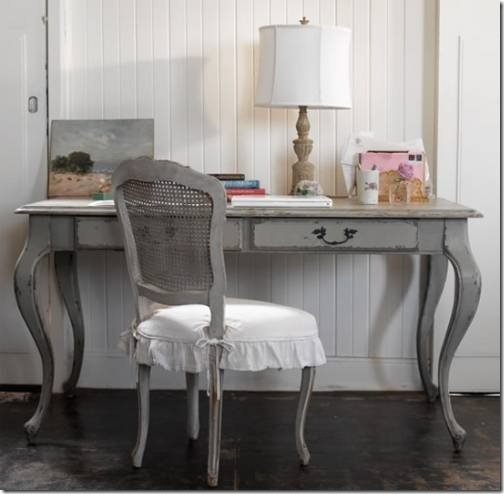 Grey rustic writing desk and matching chair