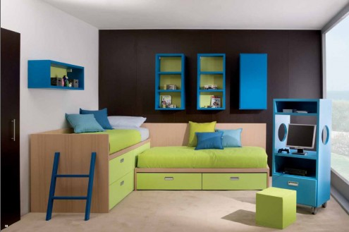 Dark brown and white teenagers bedroom with fold out beds and sofas