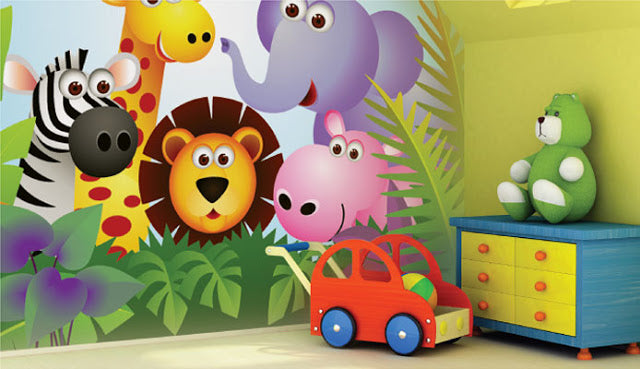 Cartoon safari animals decal on a kids bedroom wall
