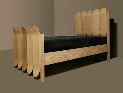 A wooden be made from light wooden skateboards
