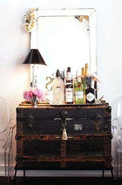 Rustic storage trunk turned into a drinks cabinet