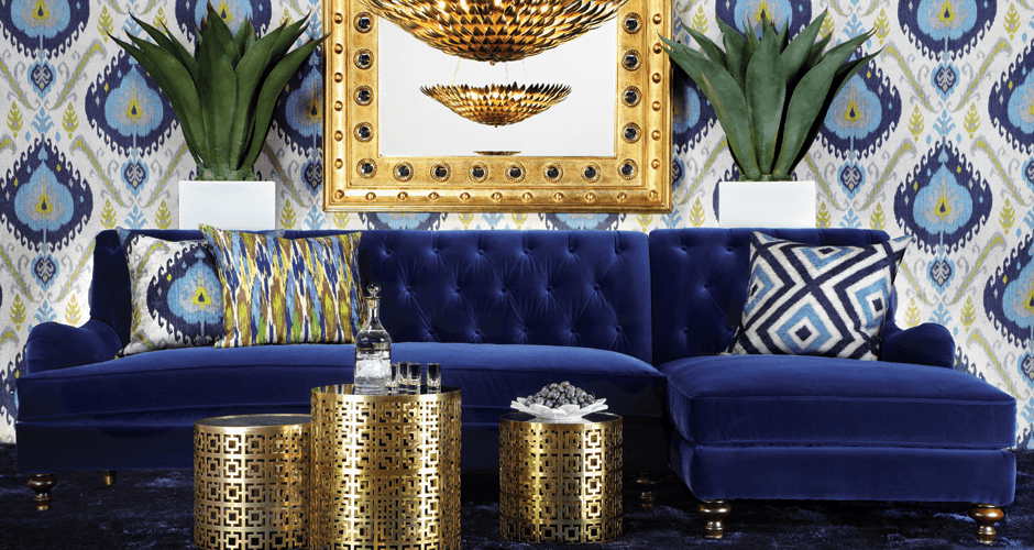 Blue sofa and living room with touches of gold