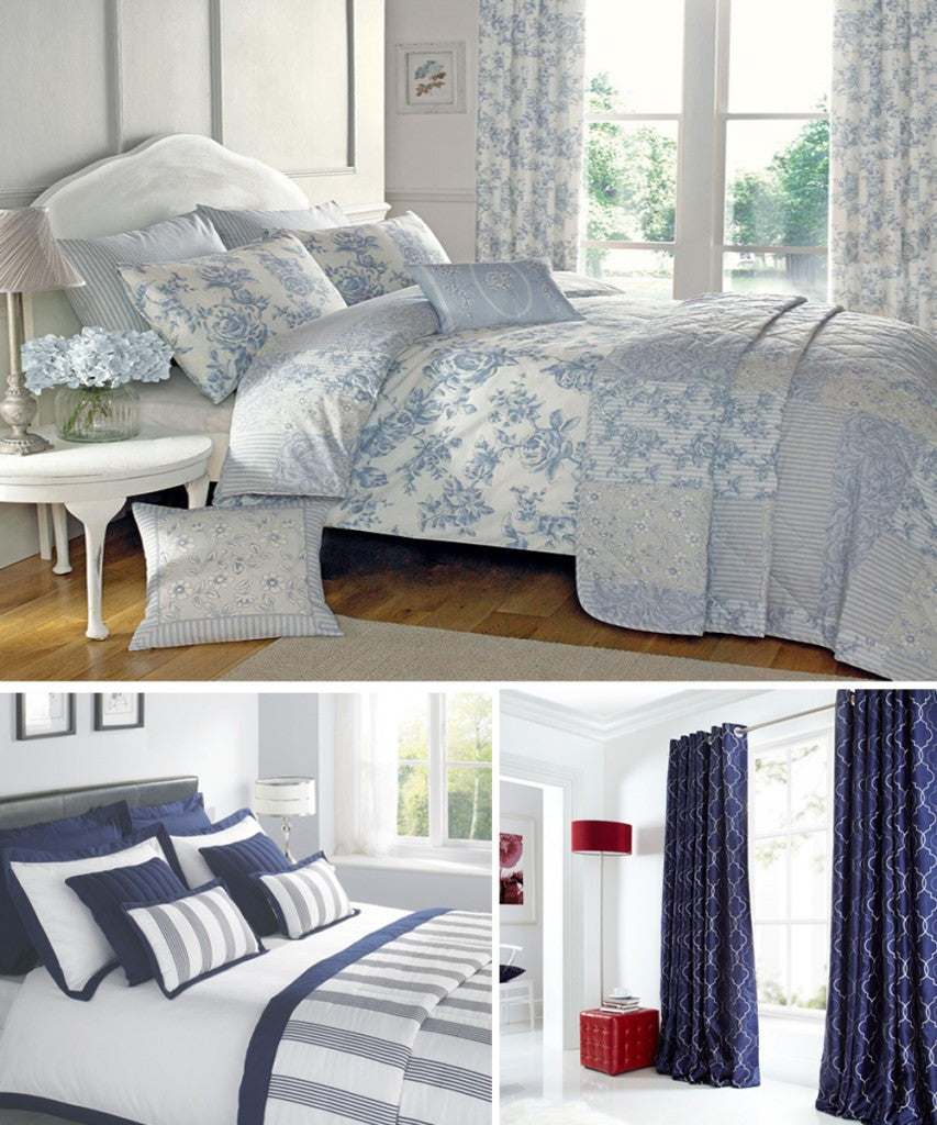 From left to right - Malton Blue bedding, Portland Navy bedding, Midtown Blue eyelet curtains