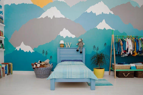 Boys bedroom design with mountain wall decals