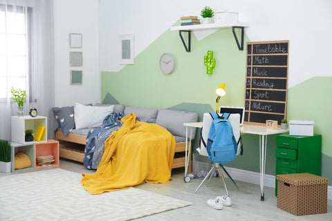 Modern boys bedroom in white and light green